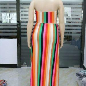Rainbow stripe two-piece dress
